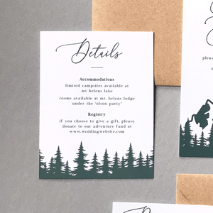 Wedding Details Insert Card - The Aurora Suite - Mountains in the Woods Wedding Theme