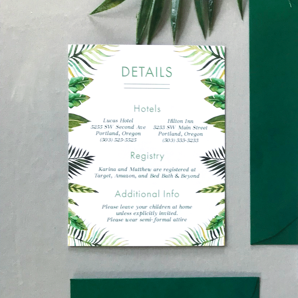 Wedding Details Insert Card - The Callisto Suite - Tropical Palm Leaves Wedding Invitation Suite