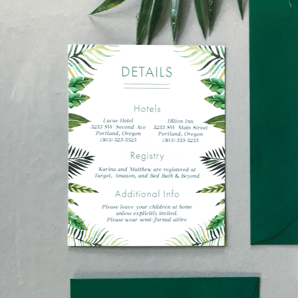 Details Card - The Callisto Suite - Modern Tropical Wedding Stationery Suite