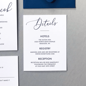 Wedding Details Card - The Cressida Suite - Minimal Large Script Wedding Collection