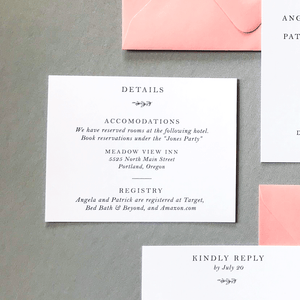 Wedding Details Insert Card - The Ophelia Suite - Minimal Floral Monogram Wedding Invitation Collection