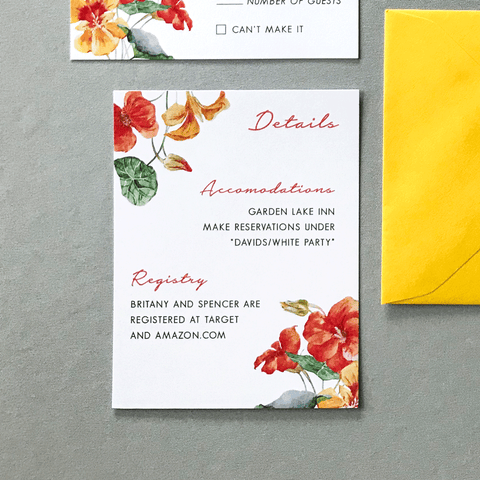Wedding Details Insert Card - The Bianca Suite - Burnt Orange and Yellow Watercolor Floral Wedding Suite