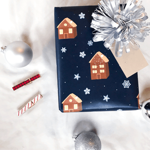 Winter Houses Holiday Gift Wrap - Designer Wrapping Paper Sheets - Wrapped Gift with Bow and Tag