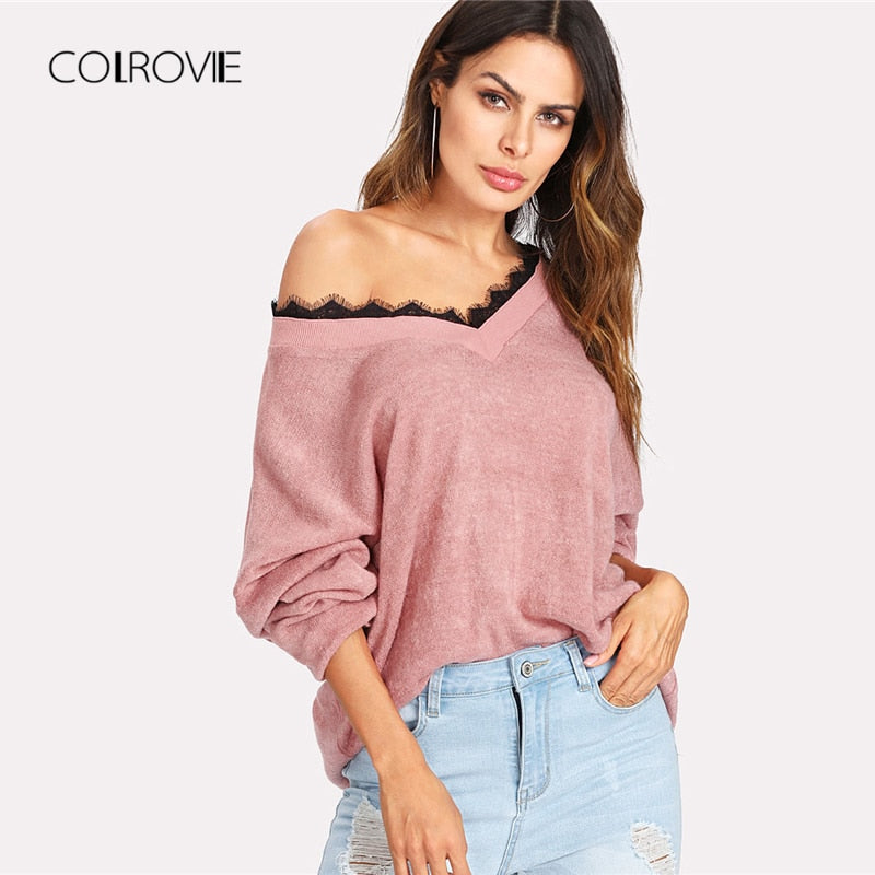 93f32011b1 COLROVIE Women s Lace Knitted Sweater – Armoire Garments