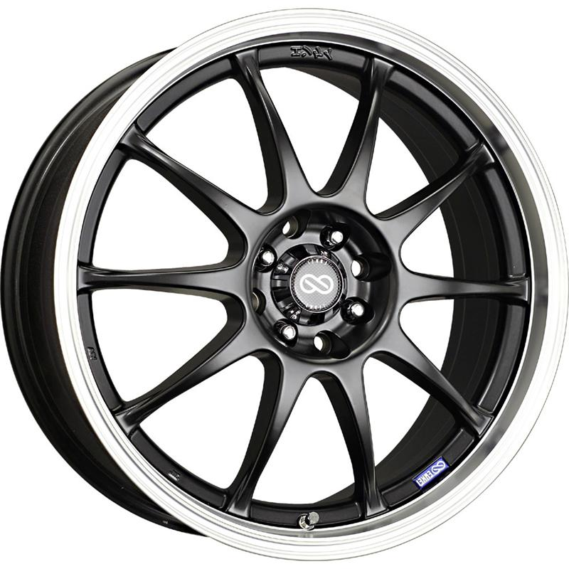 Enkei J10 18x7.5 38mm Offset 5x100/114.3 72.6mm Bore Black w/ Machined Lip Wheel