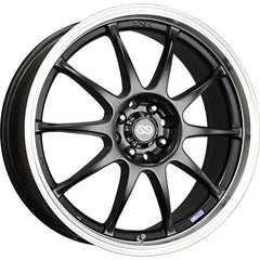Enkei J10 16x7 38mm Offset 5x112/114.3 72.6mm Bore Black w/ Machined Lip Wheel
