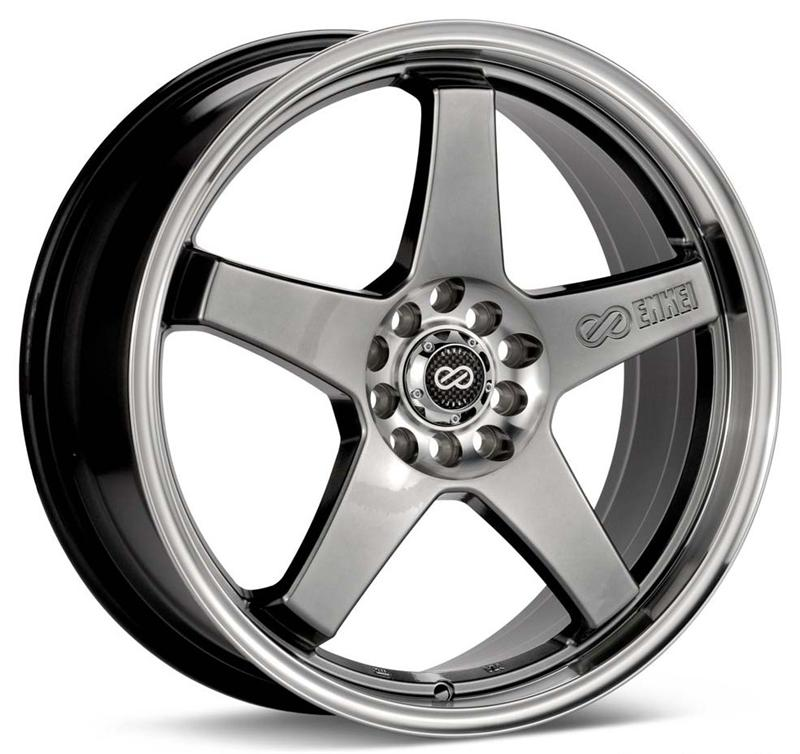 Enkei EV5 17x7 38mm Offset 5x105/110 72.6mm Bore Hyper Black w/ Machined Lip Wheel