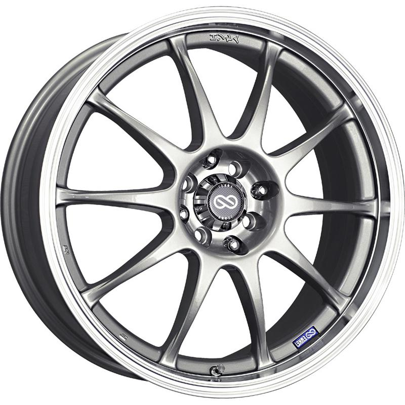 Enkei J10 15x6.5 38mm Offset 4x100/114.3 72.6mm Bore Silver w/ Machined Lip Wheel