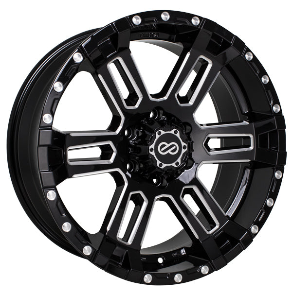 Enkei Commander 17x8 20mm Offset 5x127 71.6mm Bore Black Machined Wheel