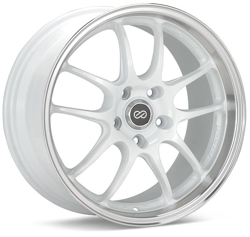 Enkei PF01SS 17x8 50mm Offset 5x114.3 75mm Bore White w/ Machined Lip Wheel