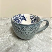 Load image into Gallery viewer, Oversized Ceramic Mug Denim Blue with Flowers