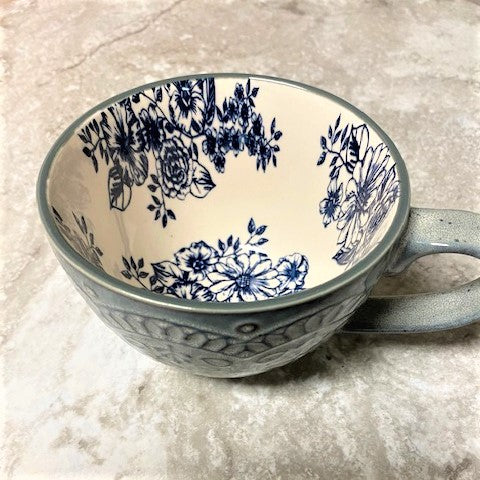 Oversized Ceramic Mug Denim Blue with Flowers