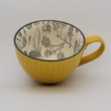 Load image into Gallery viewer, Oversized Ceramic Mug Yellow with Bees