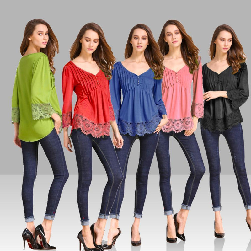 Magoloft™ V-Neck Splicing Single-Breasted Blouse