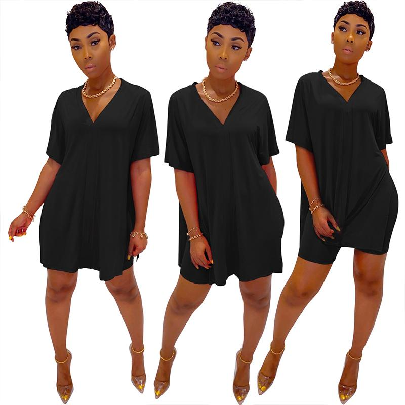 V-neck Batwing Sleeve Top & Short Set