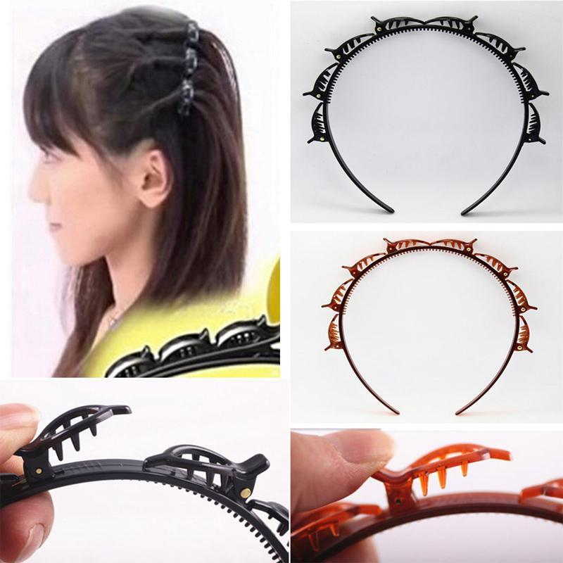 Double bangs hairstyle hairpin