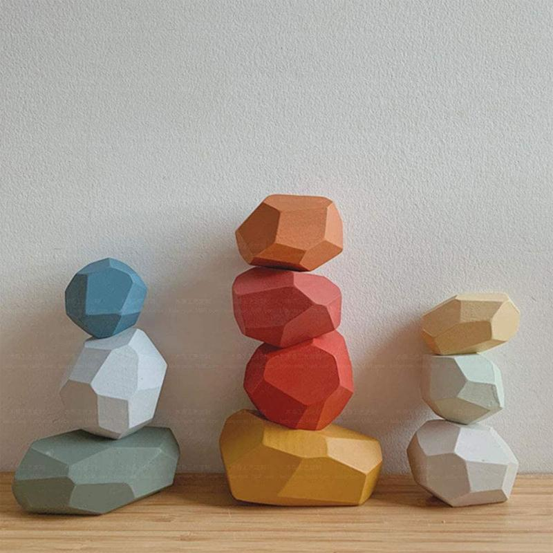 【Last Day 50% Off】Wood Rock Set Balancing Blocks Natural Wood Toy