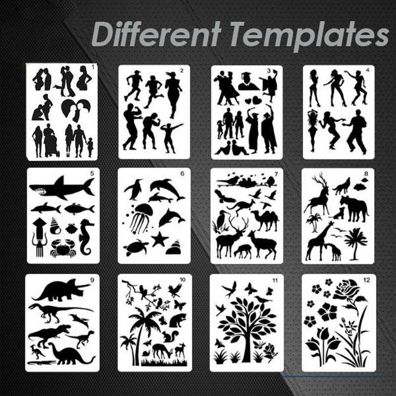 Fast Draw Stencil Art Templates (12 Sheets/Set)