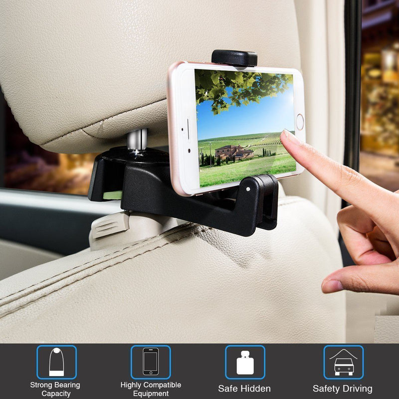 Car Seat Rear Hook with Mobile Phone Holder(2PCS)