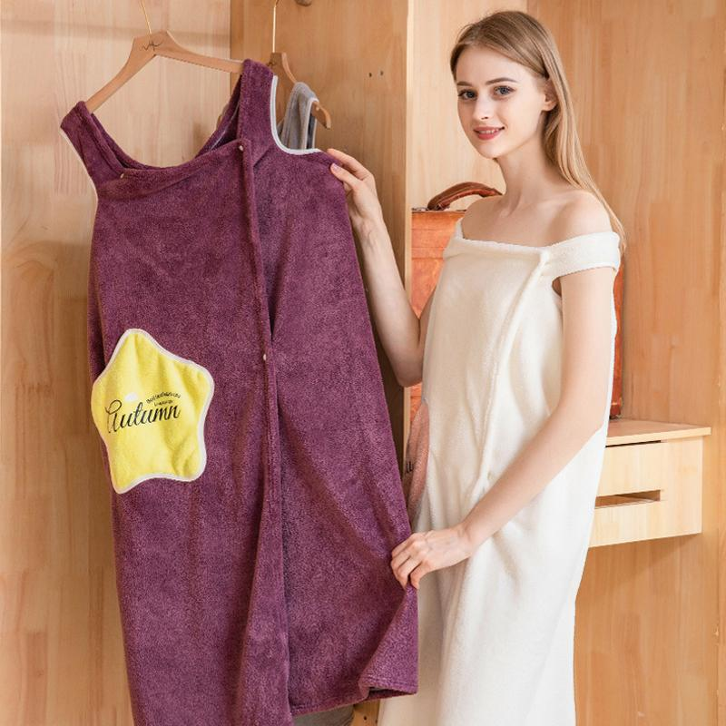 Women Quick Dry Wearable Microfiber plush Bathrobes