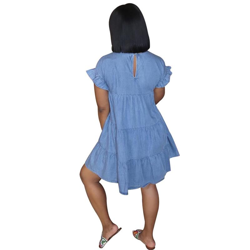 Round Neck Pleated Loose Denim Dress