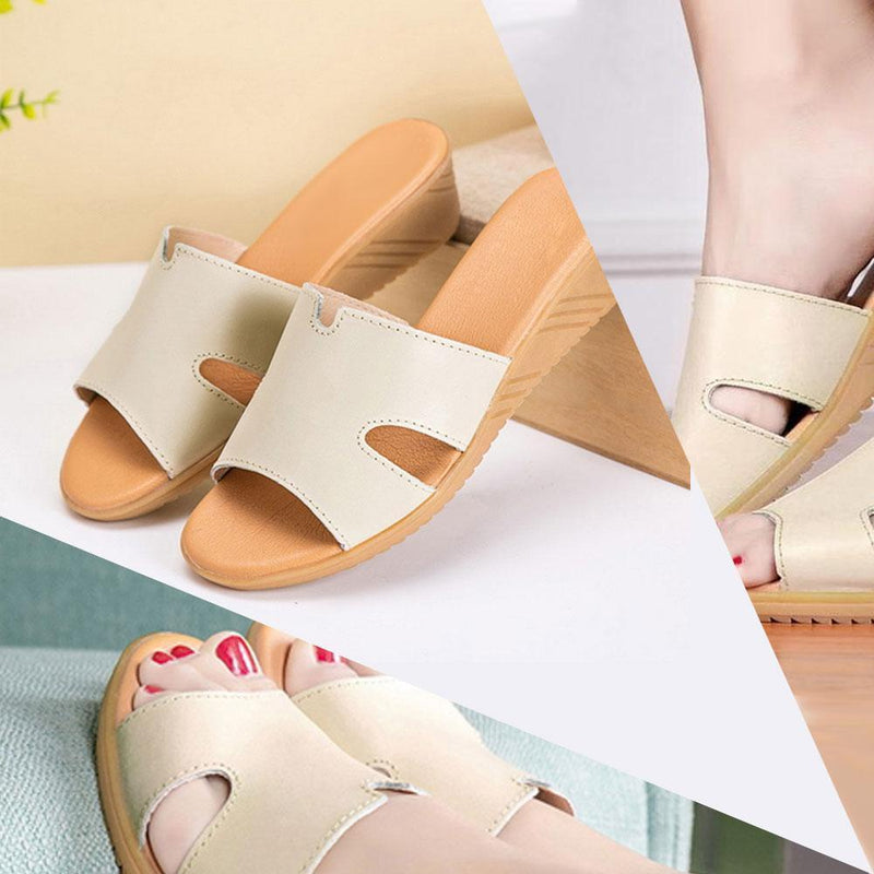 Women's Summer Leather Low Heel Casual Slippers