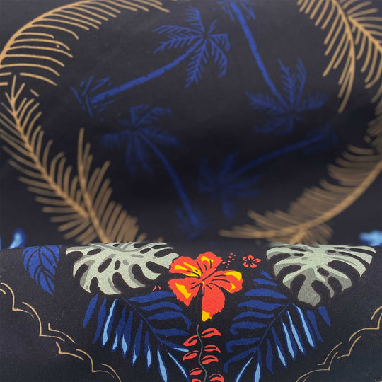 "The BALI HIGH Hawaiian bandana. You navigate by the moon. You steer your ship by the stars. This dark and stormy bandana will fill your sails with a mighty wind. Details: Size: 22"" x 22"" Material: 100% cotton, water-based inks. Cotton milled in South Carolina, printed in New York. Made in the USA 🇺🇸"