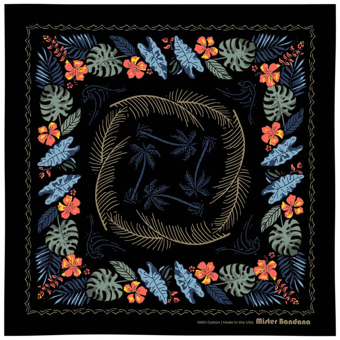 The BALI HIGH Hawaiian bandana. You navigate by the moon. You steer your ship by the stars. This dark and stormy bandana will fill your sails with a mighty wind. Details: Size: 22
