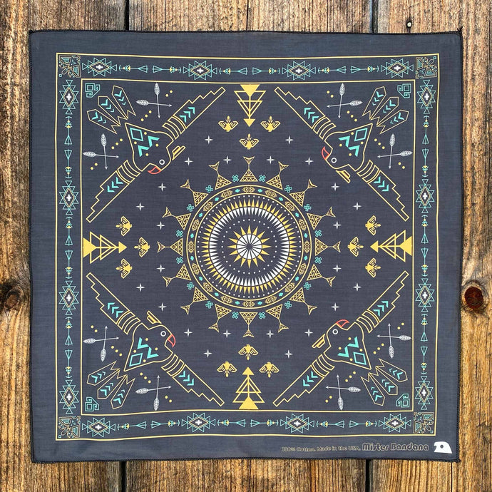 Explore the shimmering galaxy. The Black Galaxy Mandala bandana. Made in the USA