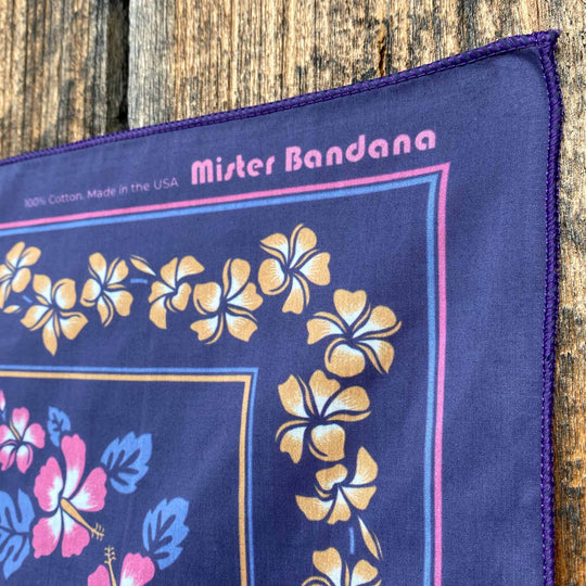 Vintage Hawaiian design in smoky deep purple. Made in the USA 🇺🇸