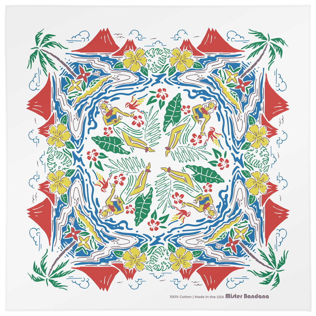 Behold the ALOHA Hawaiian bandana, made in the USA. Volcanoes erupt. Palm trees sway. Maidens beckon to the gods. Parrots fly by, squawking melodically. This is what people experience when you walk into the room, whilst wearing the ALOHA bandana. Size: 22