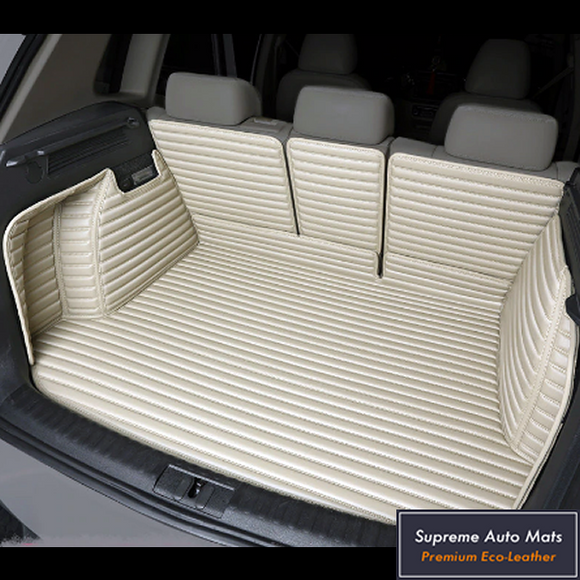 LUXURY ECO LEATHER - CUSTOM MADE - TRUNK LINER - BEIGE STRIPE