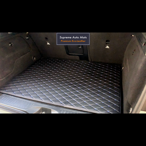 LUXURY ECO LEATHER - CUSTOM MADE - TRUNK MAT - BLACK & BLUE DIAMOND
