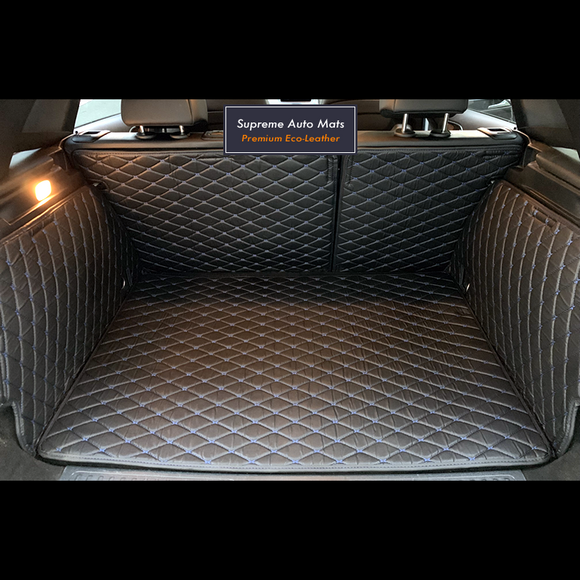 LUXURY ECO LEATHER - CUSTOM MADE - TRUNK LINER - BLACK & BLUE DIAMOND
