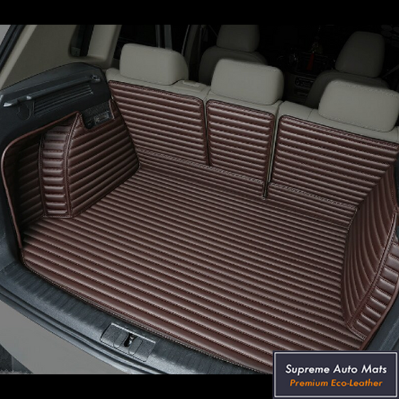 LUXURY ECO LEATHER - CUSTOM MADE - TRUNK LINER - ESPRESSO COFFEE STRIPE