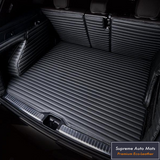LUXURY ECO LEATHER - CUSTOM MADE - TRUNK LINER - BLACK & BLACK STRIPE