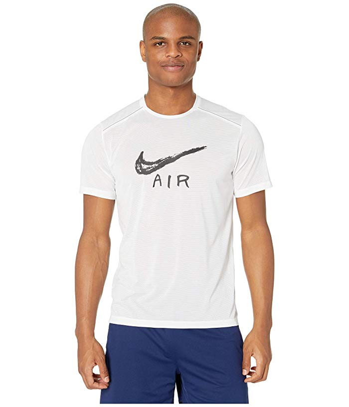 [NIKE(ナイキ)] シャツ・ワイシャツ等 Miler Cool GX HBR Short Sleeve White/Black/Reflective Silver