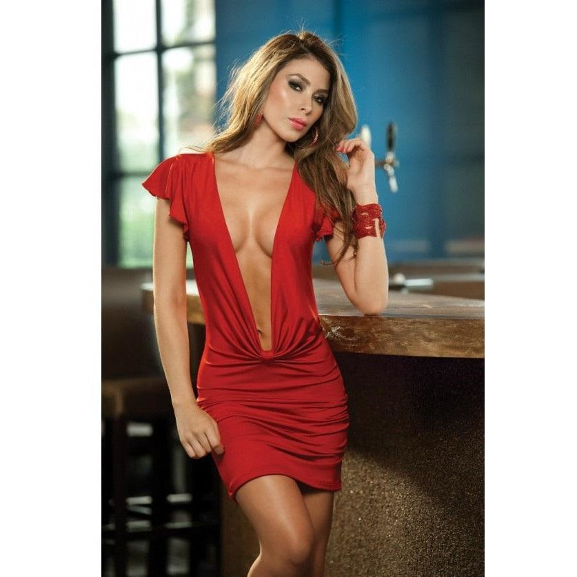 Sexy Red And Green Magic Strappy Chemise Set