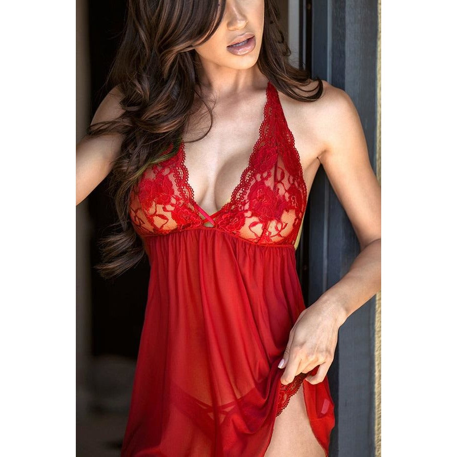 Sexy Romantic  Red Lace Babydoll Set