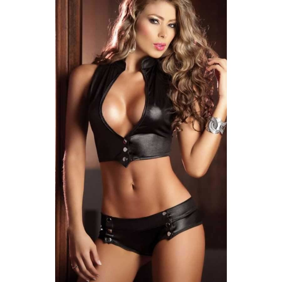 Sexy Two Piece Faux Leather Bra Set