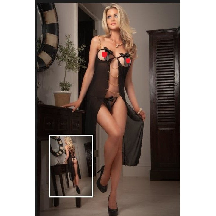 Sexy Black Cupless and Crotchless Long Mesh Babydoll