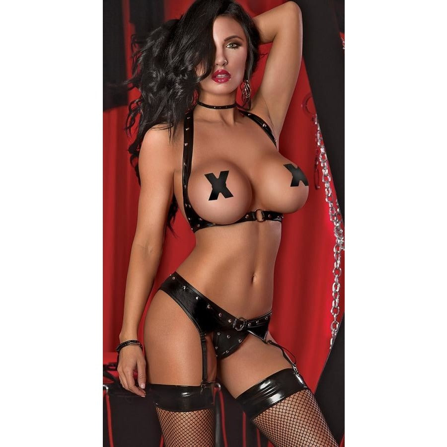 Sexy Black Studded Leather Lingerie Set