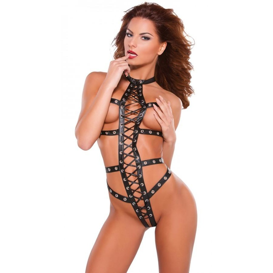 Sexy Exotic Faux Leather  Studded Strappy Teddy