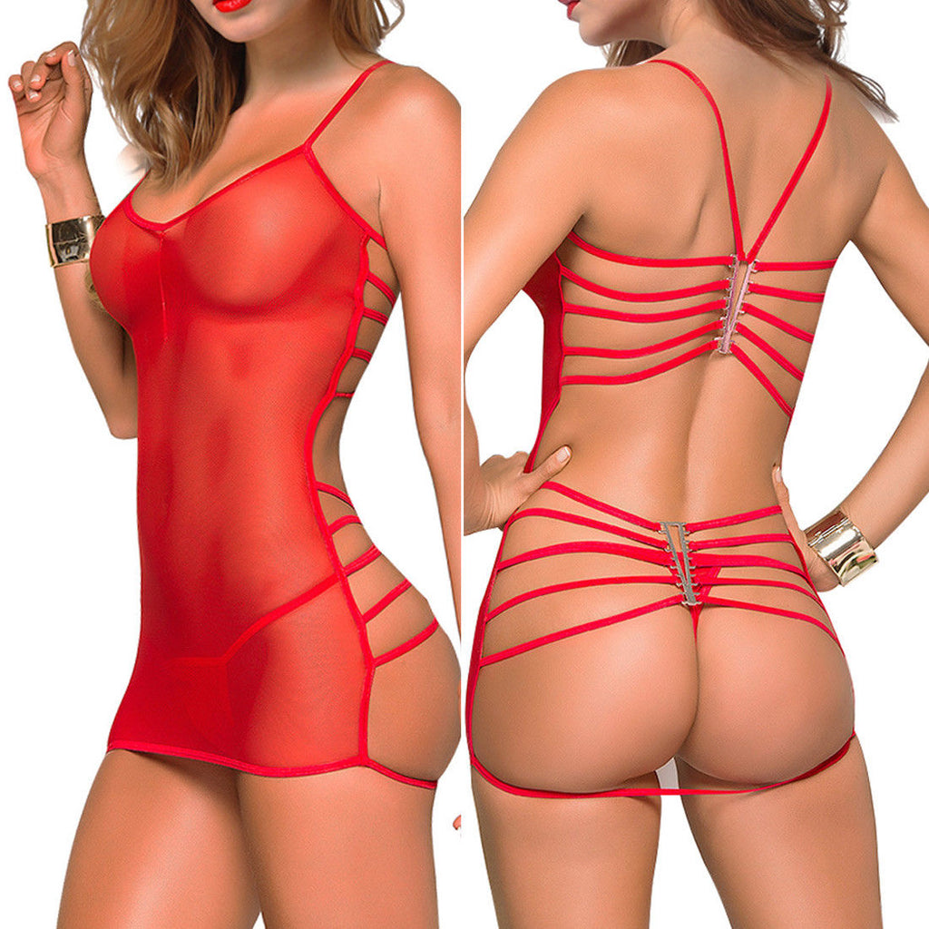 Sexy Red Magic Strappy Chemise Set