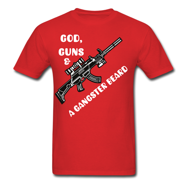 God, Guns & A Gangster Beard T-Shirt - BeardedMoney