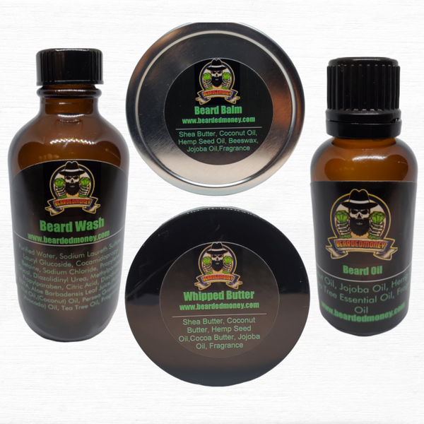 Revenge (Sandalwood Vanilla) Kit contains beard oil, beard wash, balm and
