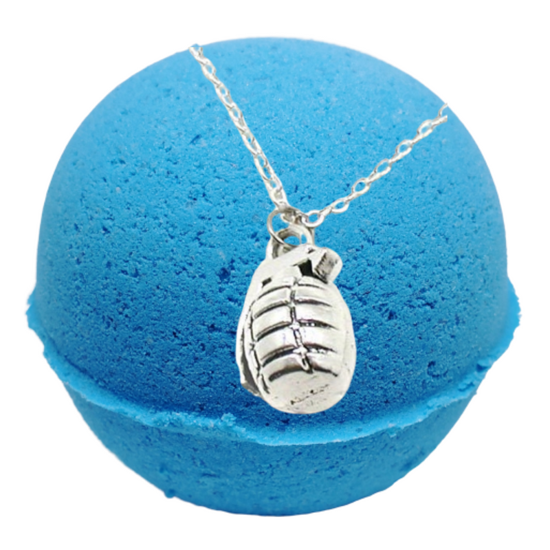 Mint Bark Texas Blue Balls Bath Bomb With A Prize Necklace Inside.