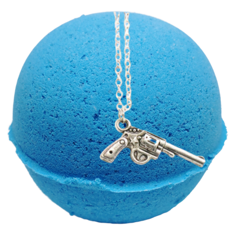Lavender & Chamomile Texas Blue Balls Bath Bomb With a Surprise Necklace Inside.