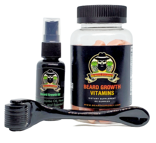 Beard Roller Growth Kit (Beard Roller, Beard Growth Oil, Beard Vitamins).  Our Kit formulated to nurture your hair follicles and the skin underneath your beard while simultaneously moisturizing and softening your beard.