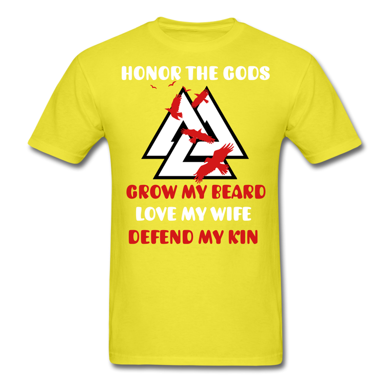 Honor The Gods Grow My Beard, Love My Wife, Defend My Kin Men's T-Shirt - BeardedMoney